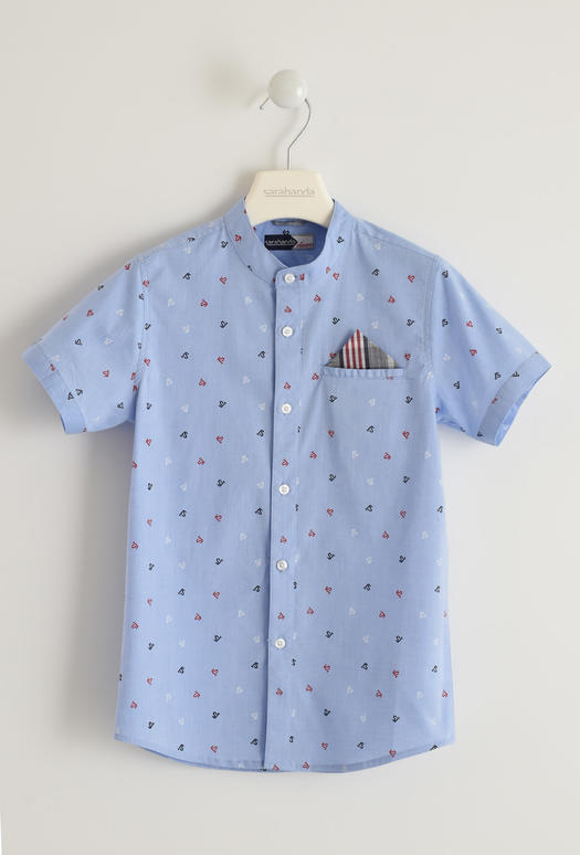 Camicia a manica corta in cotone stretch stampa all over per bambino da 6 a 16 anni Sarabanda AVION-3621